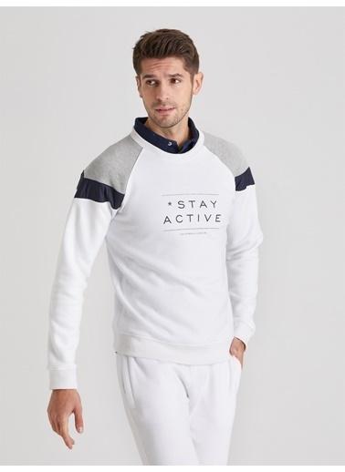 Dufy Beyaz   Baskılı Erkek Sweatshırt - Slım Fıt Beyaz